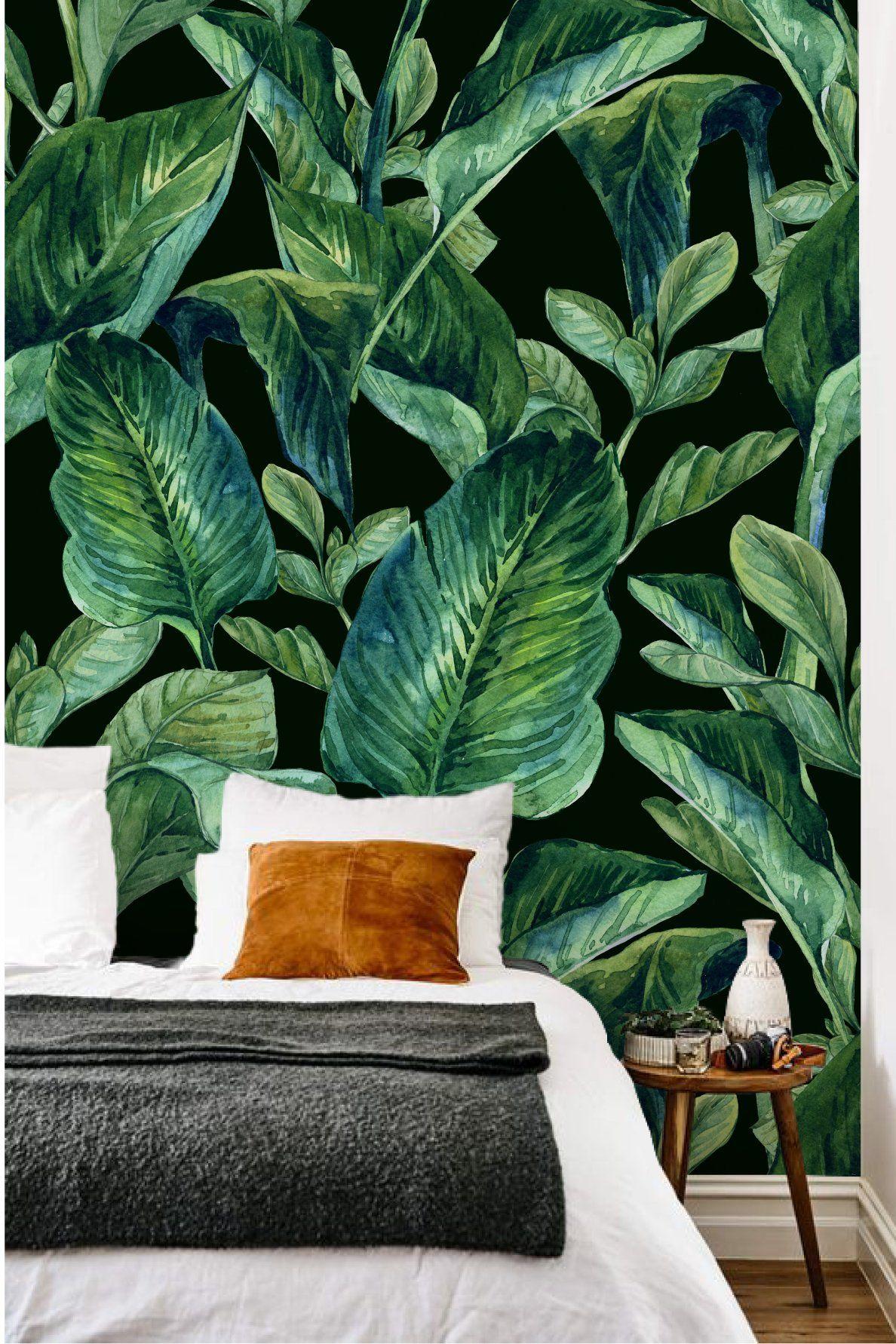 Banana leaves mural Bedroom wallpaper leaf, Green accent