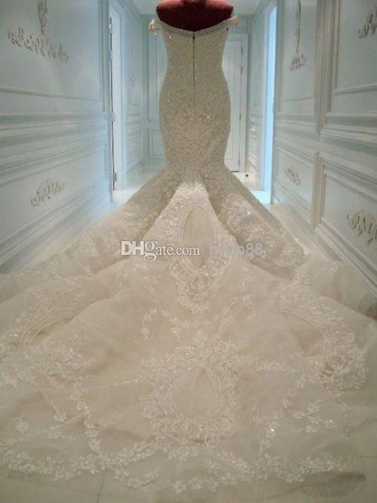 Michael Cinco Wedding Dresses 2016 New Arrival Pearls Lace Appliques Off Shoulder Sheer Backless Luxury Mermaid