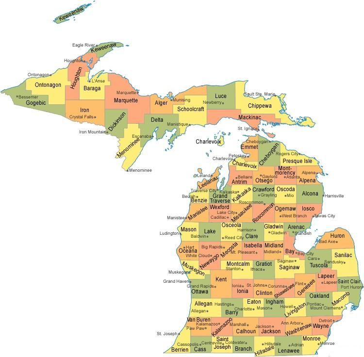 Michigan Counties Map MAPS Pinterest