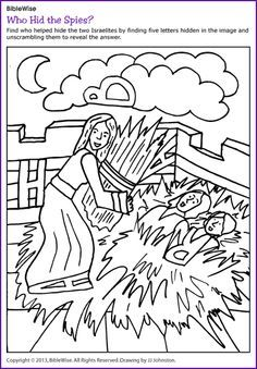 Rahab And The Spies Coloring Worksheet