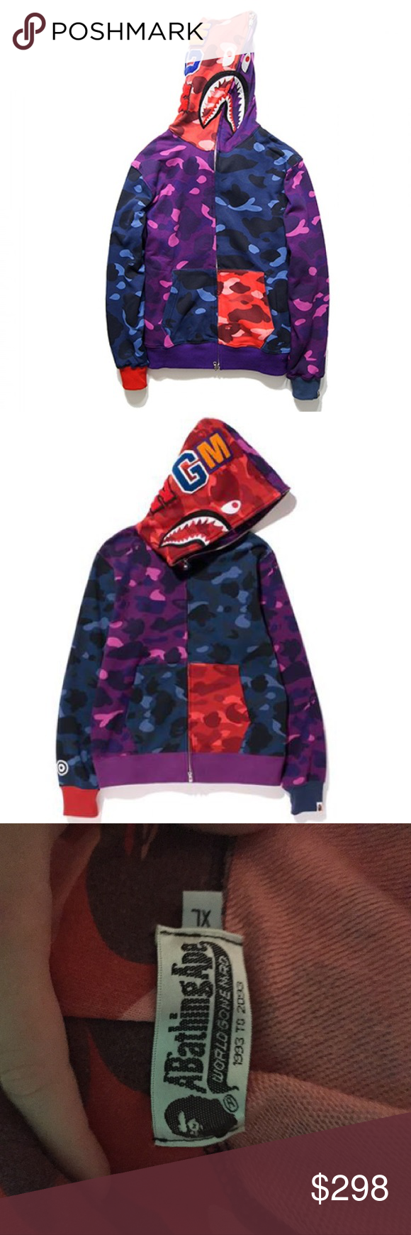 8877a816b363 BAPE Shark hoodie color camo crazy A bathing ape full Zip Up sweater.  Colorful camo. Great condition