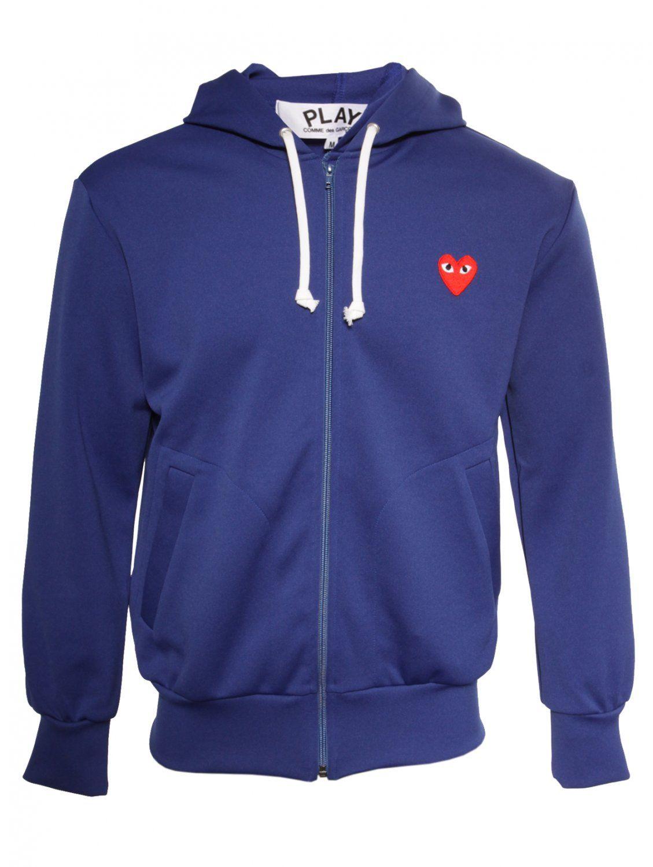 Comme Des Garcons Play Mens Red Heart Zip Hoodie Blue For Men Zip Hoodie Comme Des Garcons Play Hoodies [ 1500 x 1129 Pixel ]
