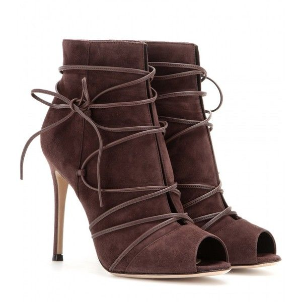 ac5328690318 Gianvito Rossi Suede Open-Toe Ankle Boots ( 795) ❤ liked on Polyvore  featuring shoes