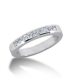 0.54 Cttw G VS Princess Cut Diamonds Wedding Ring in 14k White Gold by…