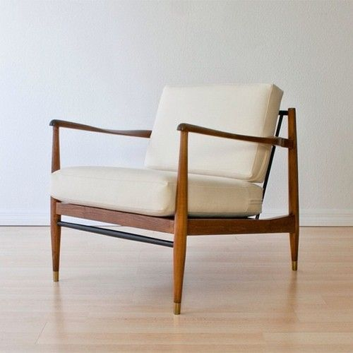 Danish Lounge Chair // White Wool Upholstery