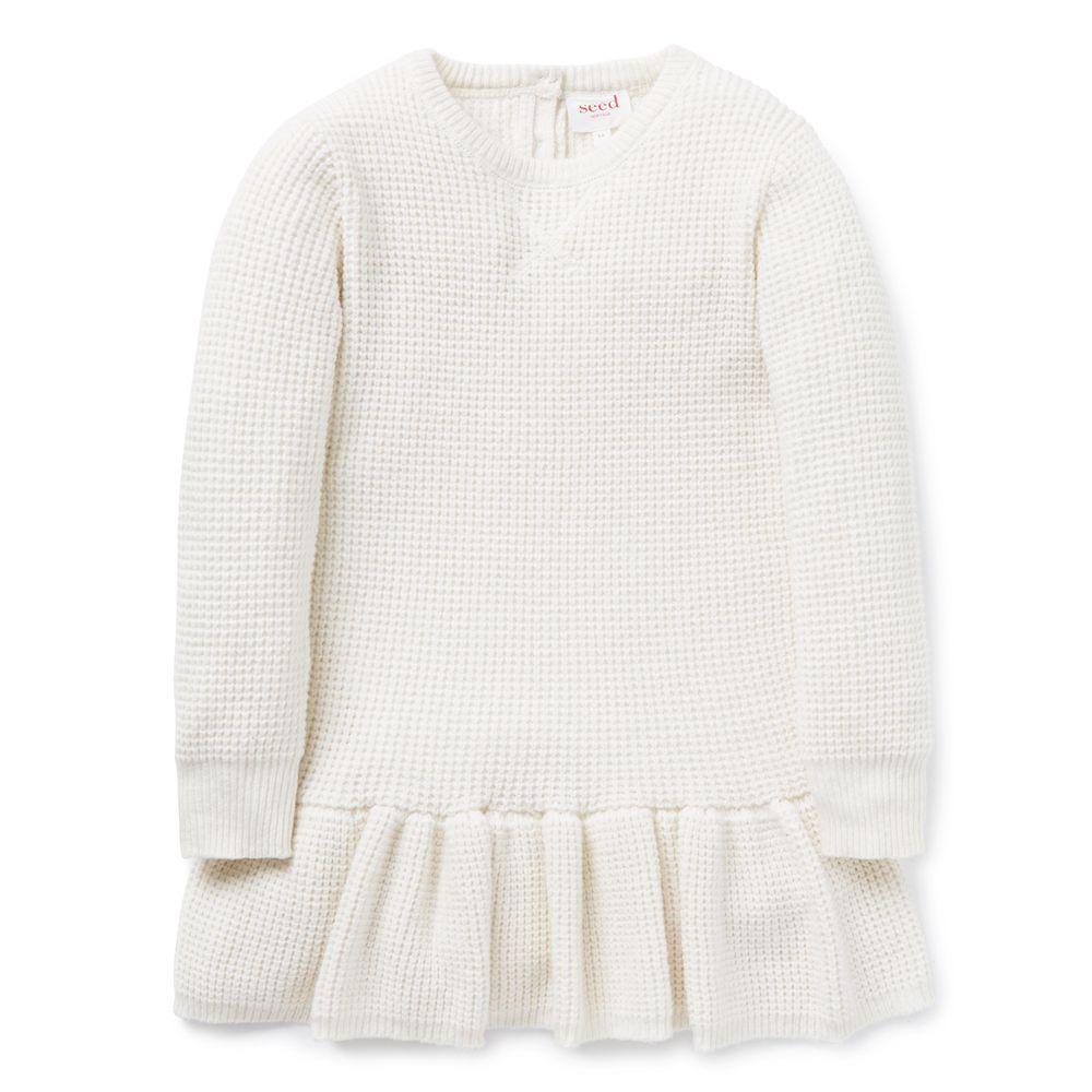 Waffle Knit Dress Long Sleeve Knit Dress Kids Fashion Girl Fashion [ 1000 x 1000 Pixel ]