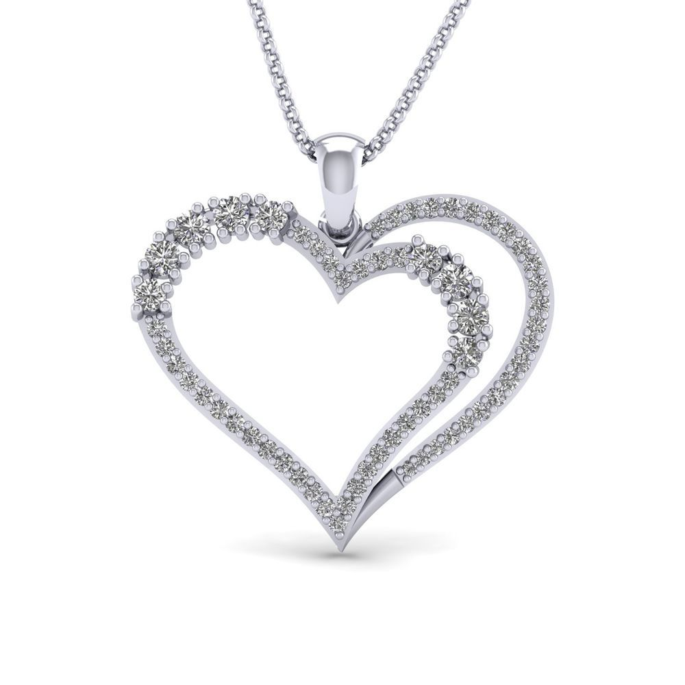 1 2 Ct Real Diamond Solid 10k White Gold Heart Pendant 16 Chain Valentine S Day Carat Heart Pendant Diamond Diamond Heart Pendant Necklace Heart Pendant Gold
