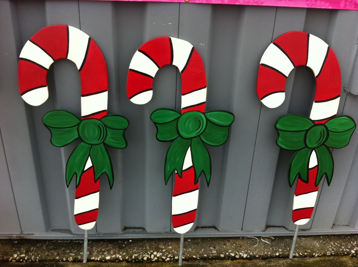 Homemade christmas yard decorations - Christmas Candy Cane 1 Pc Holiday Wooden Yard Art