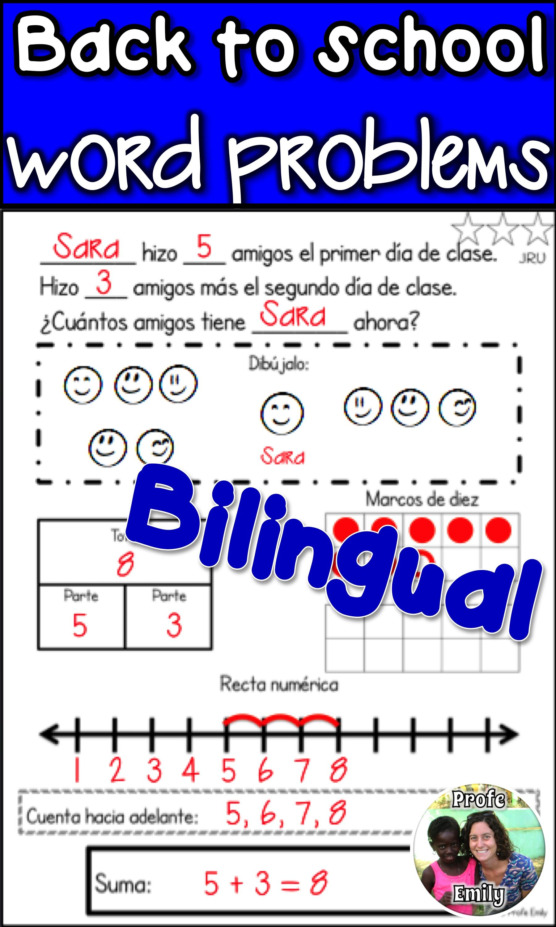 Back To School Spanish Bilingual Word Problems Cgi