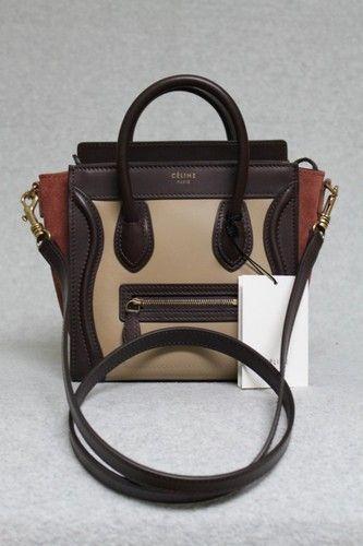 Celine Tricolor Beige Smooth Leather   Suede Nano Luggage Bag 50fa069854262