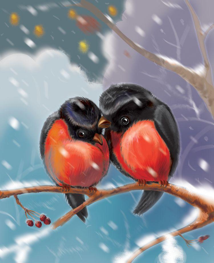 Пионами день, открытки снегирей