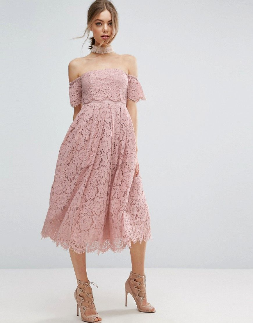 ASOS Off the Shoulder Lace Prom Midi Dress - Pink | Prom ...