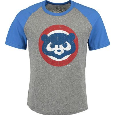 Men's Chicago Cubs Majestic Threads Heather Gray/Royal Cooperstown Collection Raglan Tri-Blend T-Shirt