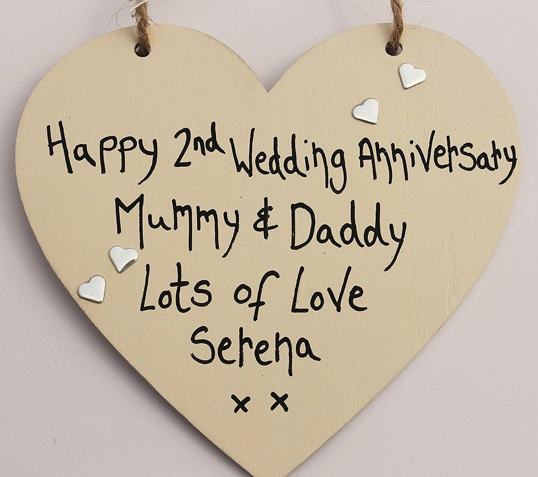 HAPPY 2ND WEDDING ANNIVERSARY PERSONALISED HEART MUMMY and