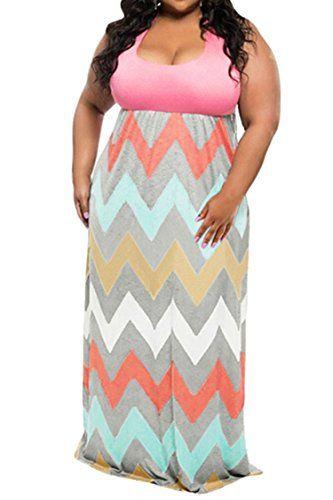 Awesome Linsery Women's Plus Size Scoop Neck Tank Top Chevron Zig Zag Stripe Maxi Dress