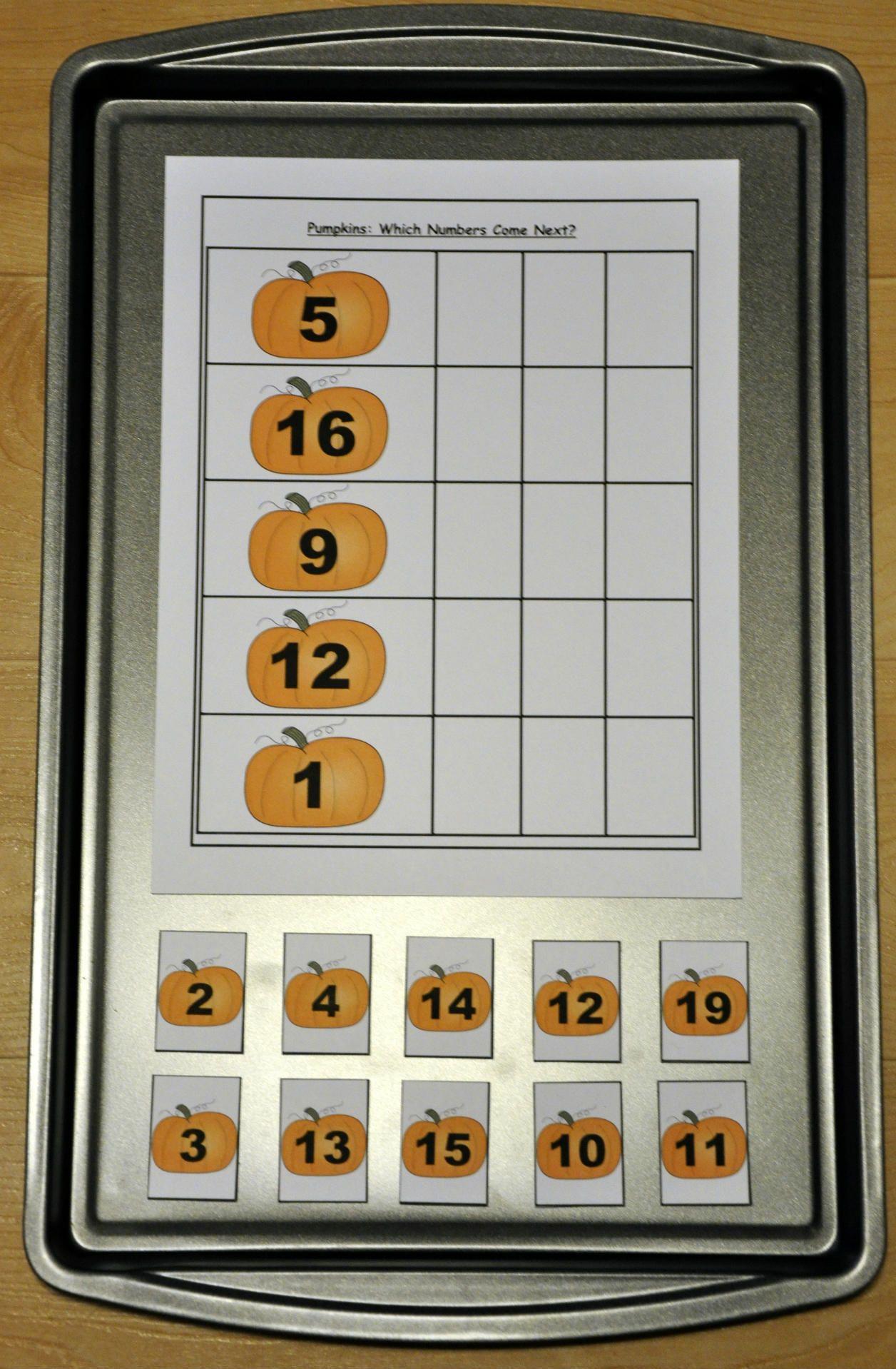 Pumpkin Number Sequence Cookie Sheet Activities Students