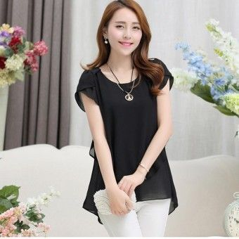 72f9d1c7292 Womens double irregular solid shirts Women Chiffon blouses 2016 New Summer  style Fashion casual ladies Tops Plus Size XXXXXL