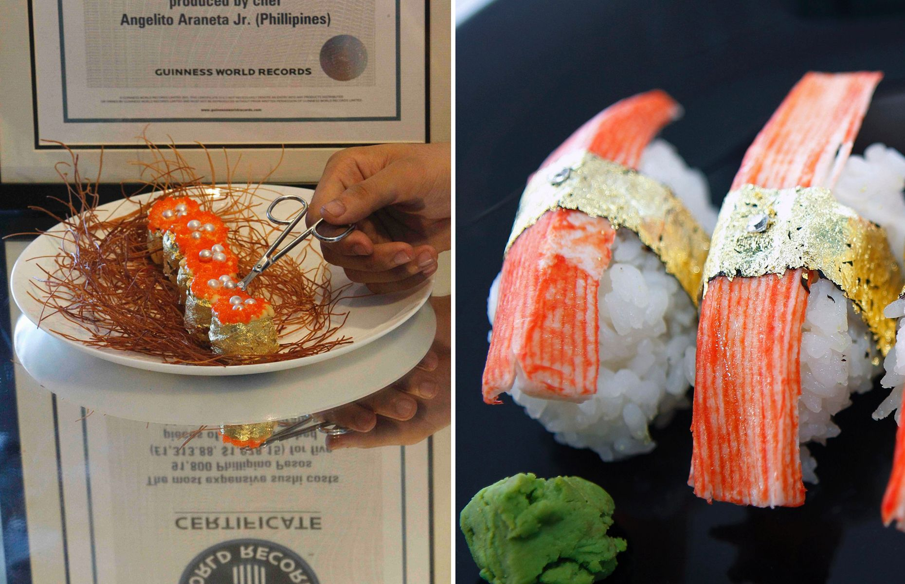 The most expensive things in the world money can buy MOST EXPENSIVE SUSHI Chef Angelito Araneta Jr. of the Philippines prepared the most expensive sushi in 2010 priced at $1,978.15 (91,800 Philippine Pesos). The nigiri was garnished with diamonds and wrapped in 24-karat gold leaf.