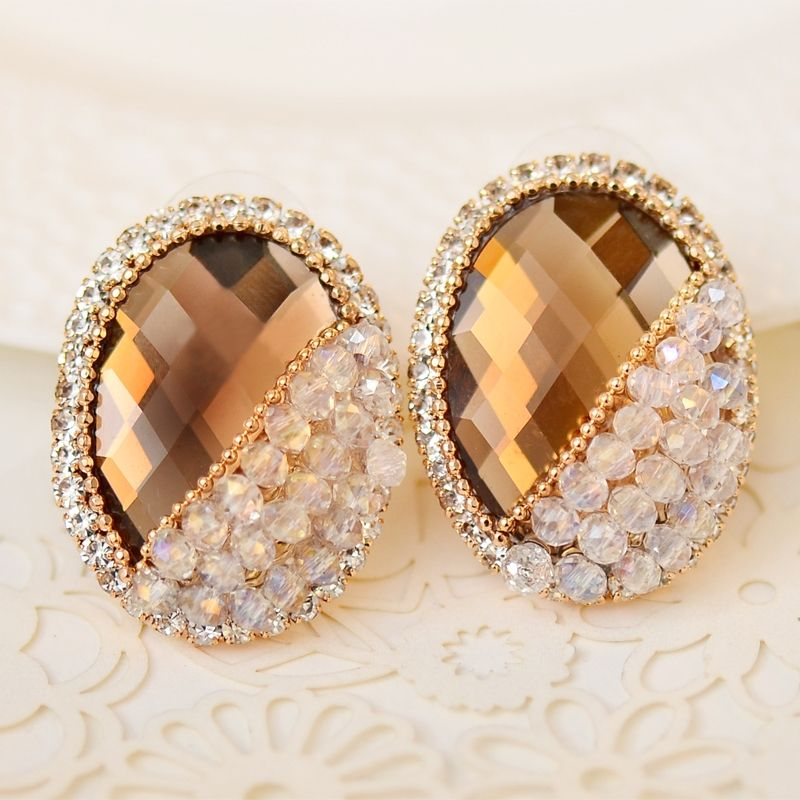 [$27.90] Champagne Bridal Fashion Oval Diamond Big Earrings - Free Shipping
