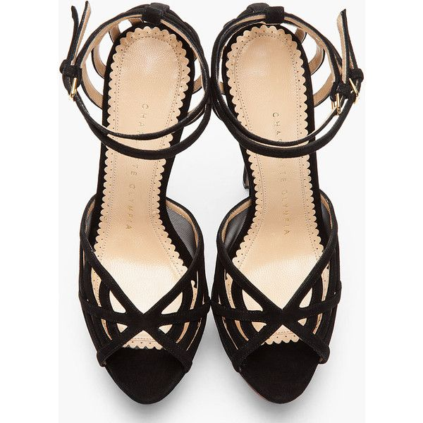 CHARLOTTE OLYMPIA Black Suede Spiderweb Octavia Sandals (1,240 AED) ❤ liked on Polyvore featuring shoes, sandals, heels, black high heel sandals, black suede sandals, ankle strap platform sandals, platform heel sandals and black ankle strap sandals