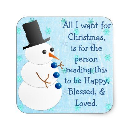 Snowman Snowflake Christmas Quote Sticker