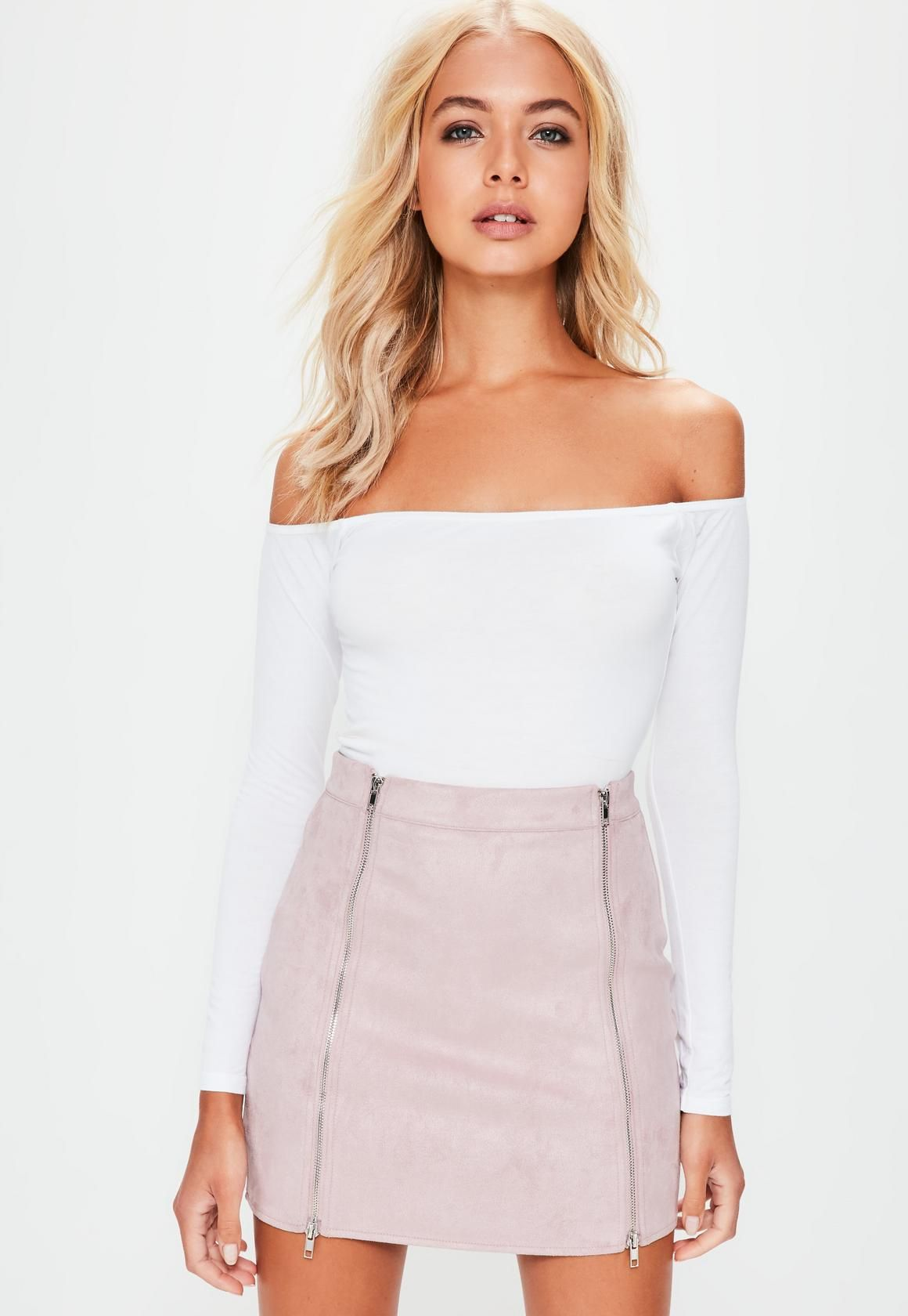 c13495a76 Missguided Petite Mauve Faux Suede Double Zip Mini Skirt | Fashion ...