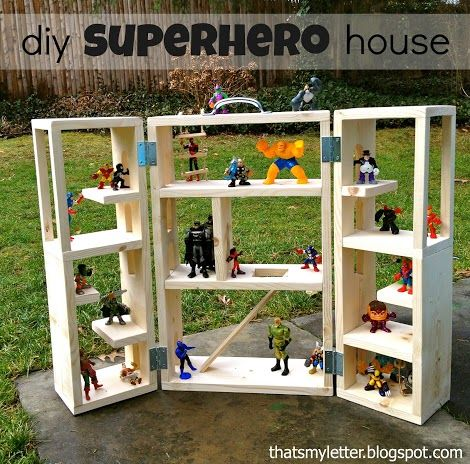 Ana White   Build a Superhero House   Free and Easy DIY Project and Furniture Plans  Perfect for MLP, or LaLa dolls, or any other set of toys lo has (Can hang on wall?)