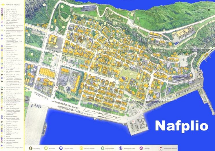 Nafplio old town map | Maps | Old town, Map, City