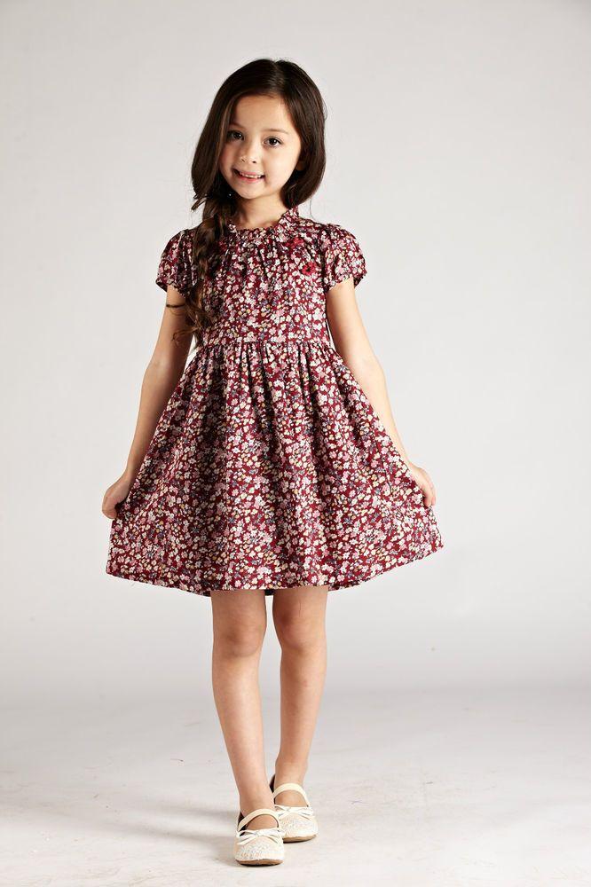 ff2da9a4cfe7 Summer Kids Girls Shivering Flower Short Sleeve Plaids Dresses ...
