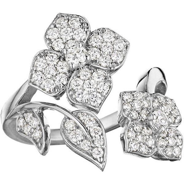 Penny Preville 18k White Gold Pavé Diamond Flower-Wrap Ring, Size 6