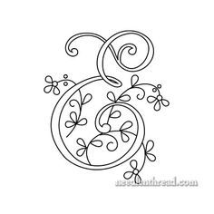 Monograms for Hand Embroidery: Delicate Spray D, E, F | Hand ...