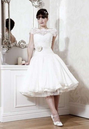 Short sleeves Tea Length Lace puffy Wedding dress Bridal Gown Custom ...