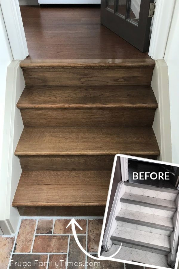 Stair Makeover Matching Old Steps To New Floors Comparing The Stair Flooring Options And More In 2020 Stair Makeover Flooring Options Staining Stairs