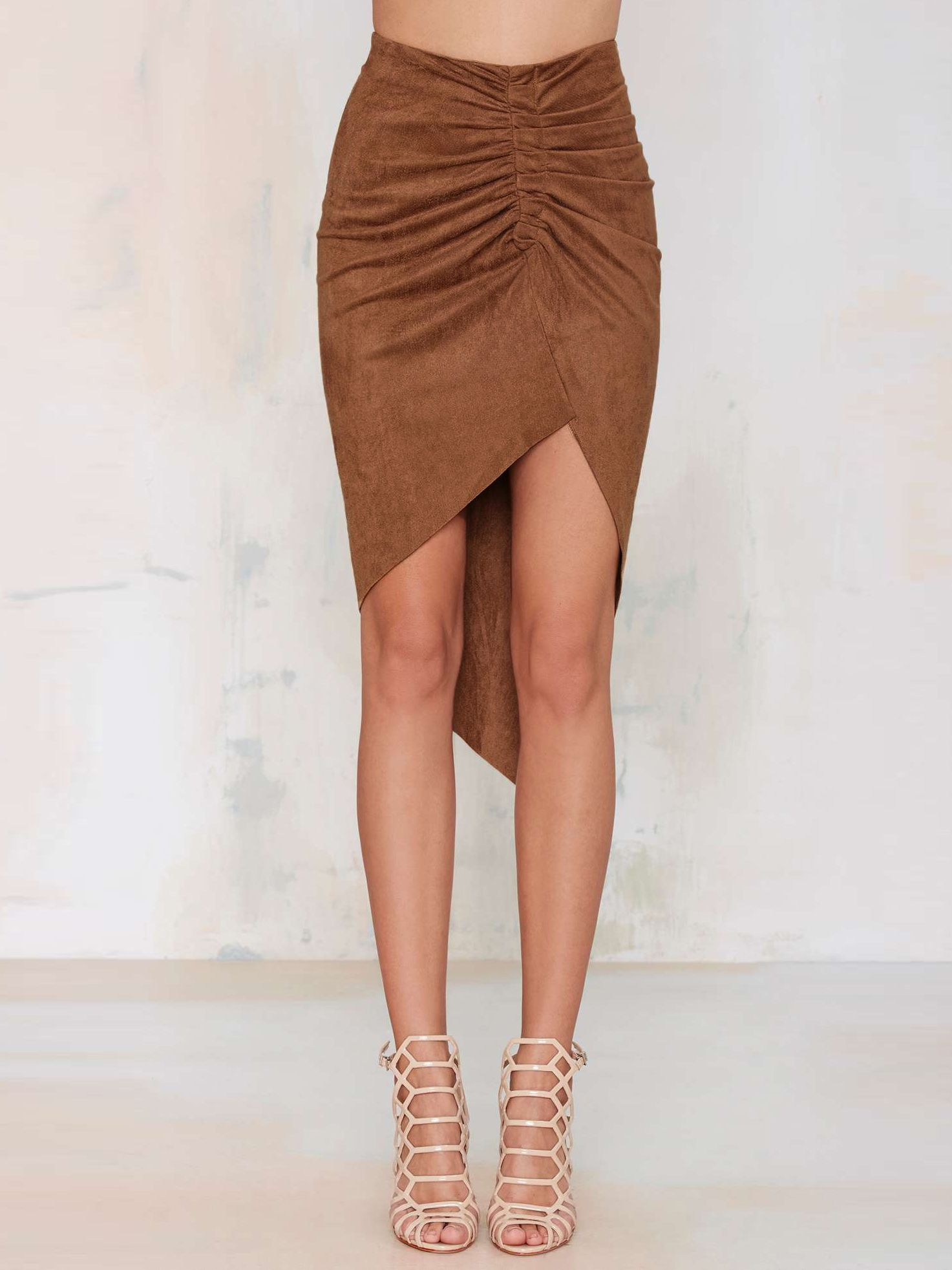 Brown Ruched Asymmetric Skirt 9.99