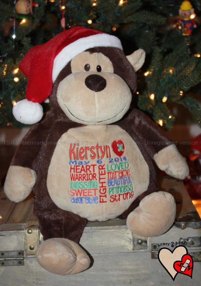 Festive Monty Monkey - embroidered by sandrahuss