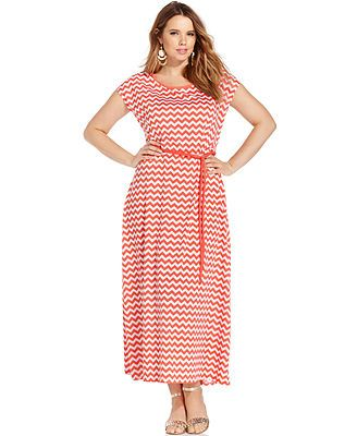 Extra Touch Plus Size Short-Sleeve Striped Maxi Dress | Plus size ...