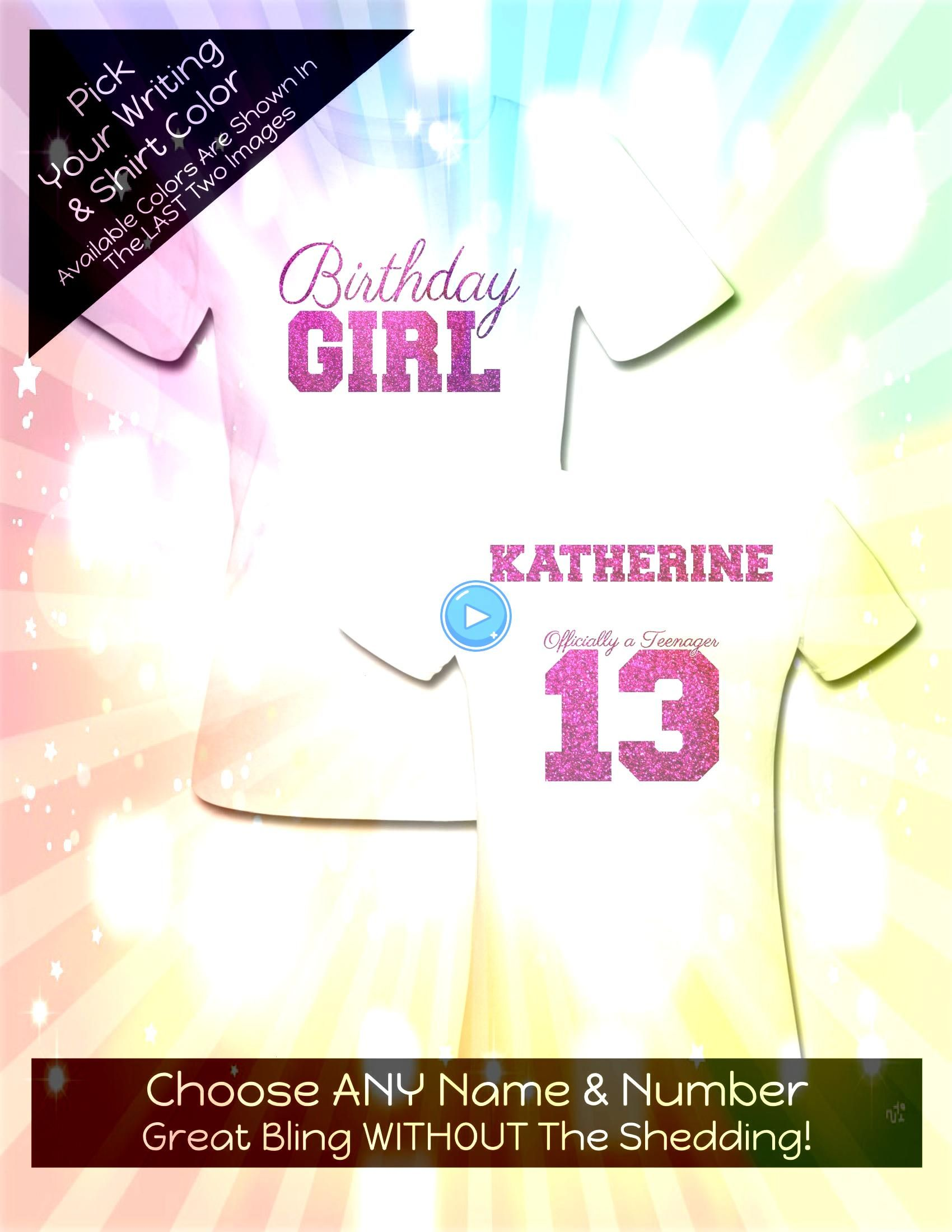 Girl Officially a Teenager 13 Shirt  Personalize the Name  Colors  All Glitter Option  Birthday Party Shirt Birthday Girl Officially a Teenager 13 Shirt  Personalize the...