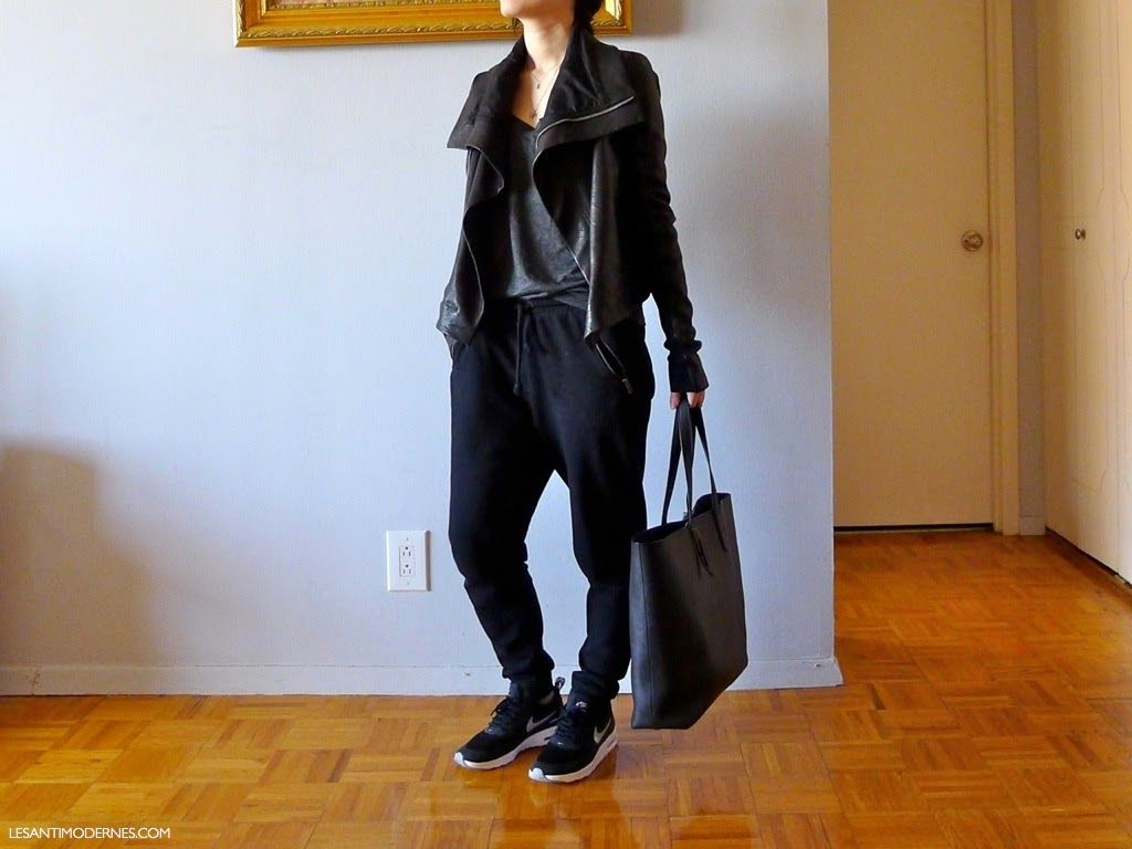Leather jacket xs - A Cold Spring Uniform Rick Owens Leather Jacket Similar Here And Here Ryan Tank In Xs H M Sweatpants In S Nike Ai