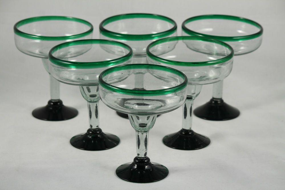 Mexican Set Margarita Glasses Glass Hand Blown Rim Green 6 Handmade Clear 18 oz #Handmade