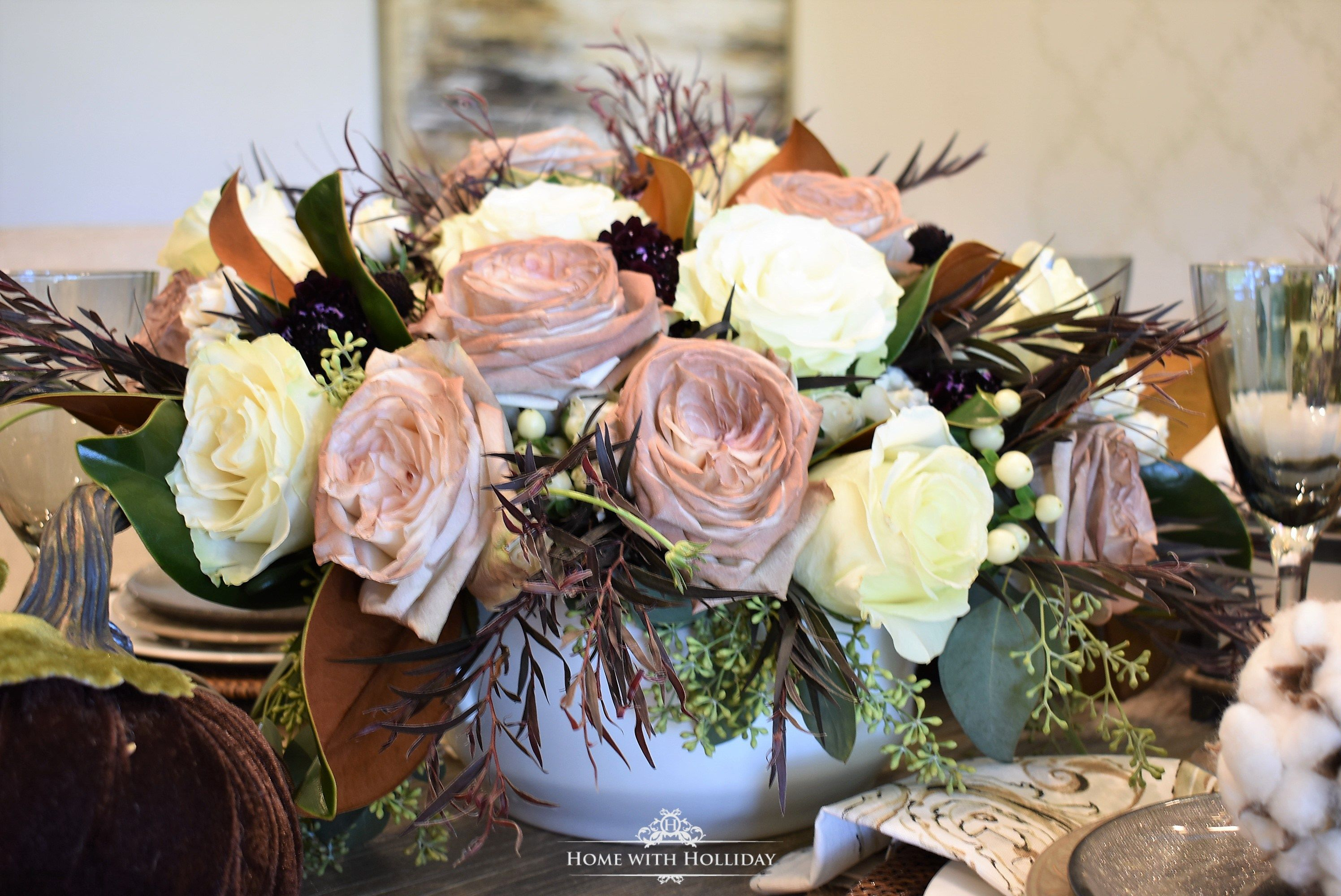 Fall Table Setting With Brown And White Pumpkins Fall And