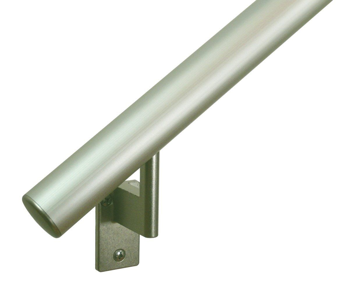 12ft Handrail Champagne Anodized Aluminum With 6 Matte Nickel Wall Brackets And Endcaps 1 6 Round Complete Ki Handrail Wall Brackets Staircase Handrail