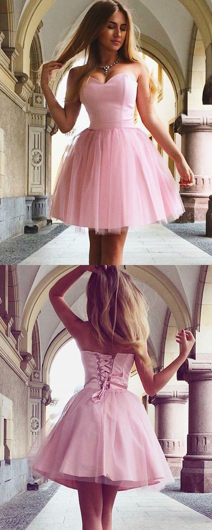 Sweetheart pink simple satin u tulle homecoming dress hd short
