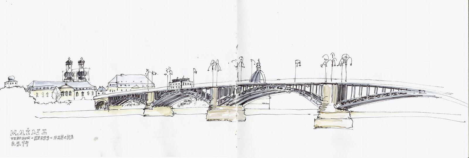 Mainz Theodor Heuss Brucke Pen And Watercolor