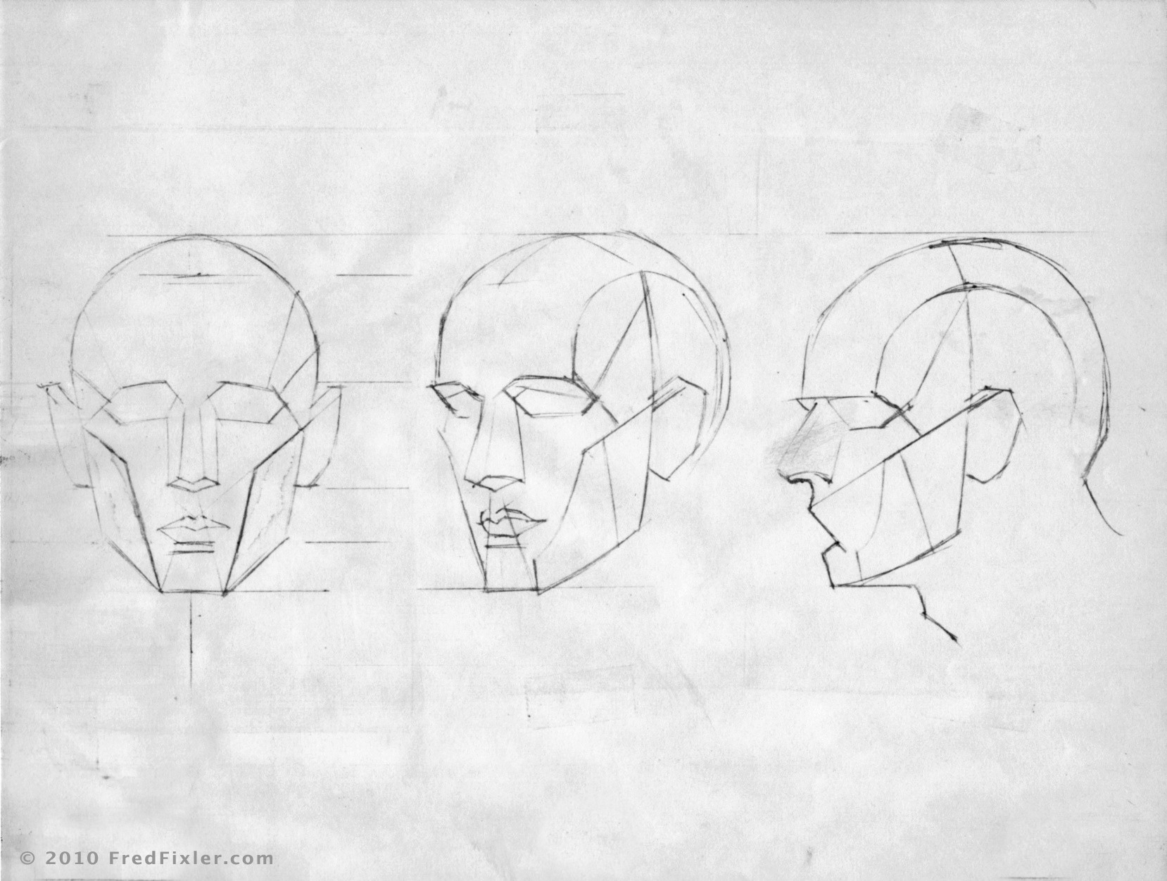 Line Drawing Of Human Face : Frank reilly planes of the head drawing resources