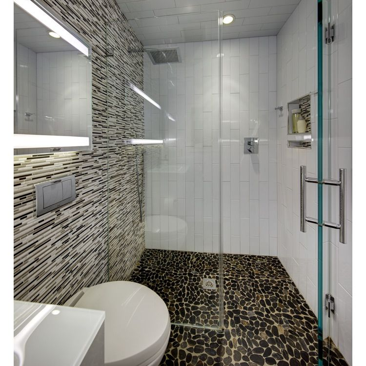 Modern Small Bathroom With River Rock Floor In Curbless Shower 4x16 Vertical White Tile And