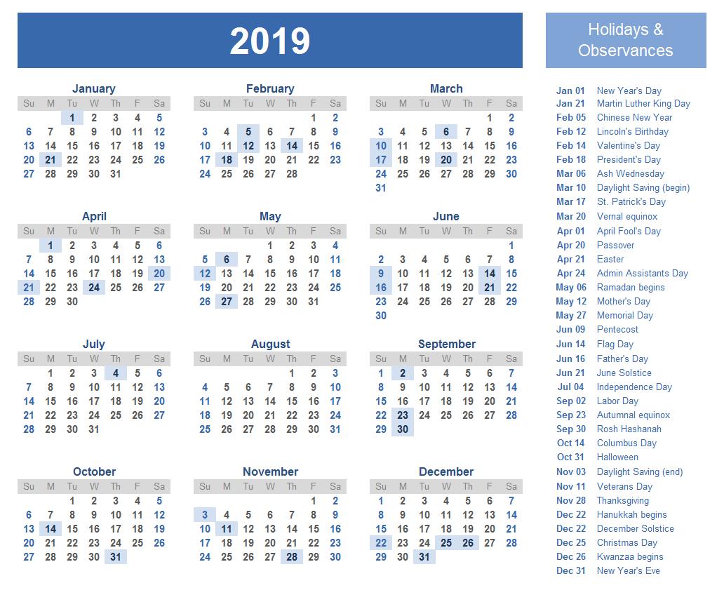 2019 Calendar Holidays 2019 Calendar Holidays Pinterest