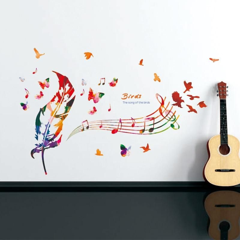 zooyoo] colorful feathers wall stickers vinyl diy musical notes wall