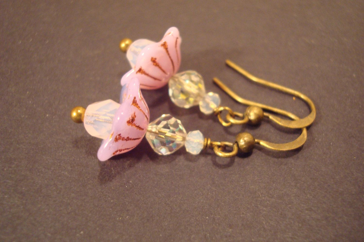 Pretty little pink flower earrings, pink vintage style glass jewelry, antiqued…