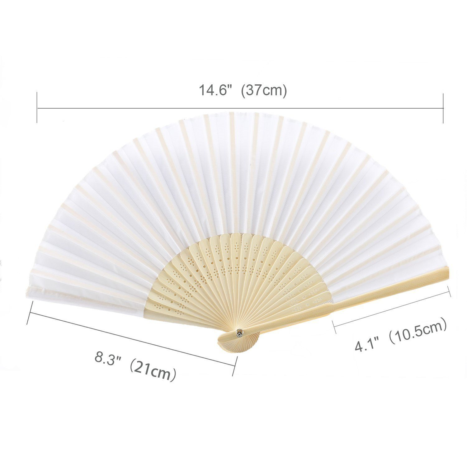 Amazoncom Metable 8Pcs Folding Fan White Silk Bamboo Handheld Folded