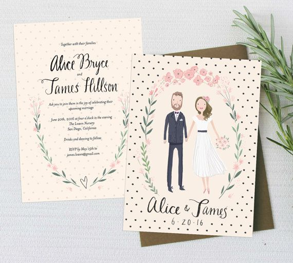 Custom illustrated couple portrait wedding invitation suite custom illustrated couple portrait wedding invitation suite printable diy digital files only stopboris Image collections